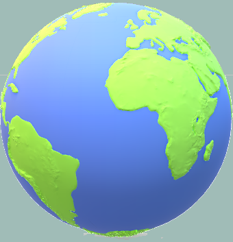 Green and blue globe