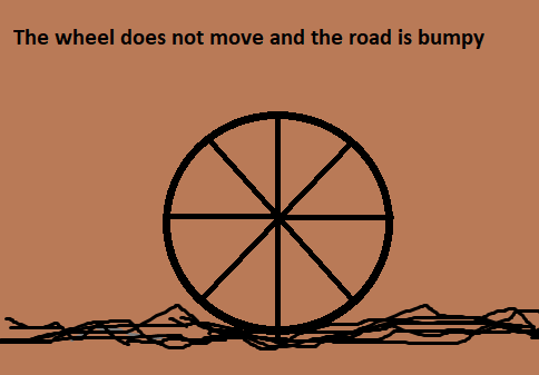 The wheel does not move and the road is bumpy